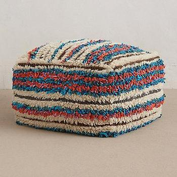 Seating - Boucherouite Pouf I anthropologie.com - red blue and ivory pouf, woven striped pouf, striped floor pouf,