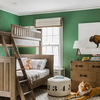 Erin Gates Design - boy's rooms - hunter green, hunter green walls, green and beige kids room, green and beige boys room, white and beige roman shade, beige grosgrain roman shade, bunk beds, boys bunk beds, restoration hardware bunk beds, plaid bedding, beige plaid bedding, kids bedding, kids plaid bedding, the animal print shop, kids room art, kids lamps, kid slighting, tripod lamps, trunk dresser, vintage trunk dresser, leather handles, leather drawer pulls, trellis rug, beige trellis rug,