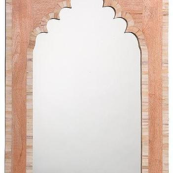 Mirrors - Taj Bone Mirror | HomeDecorators.com - bone inlaid mirror, arched bone inlay mirror, wood and bone inlay mirror,