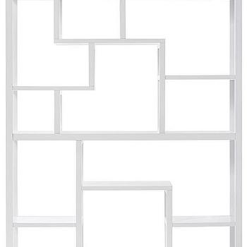 Storage Furniture - Parsons Display Shelf | HomeDecorators.com - parsons display shelf, geometric white bookshelf, contemporary white display shelf, modern white display shelf,