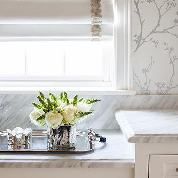 Marie Flanigan Interiors - bathrooms - bathroom wallpaper, wallpaper for bathrooms, master bathroom wallpaper, white and silver wallpaper, twiggy wallpaper, drop down vanity, marble countertops,