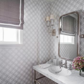 Marie Flanigan Interiors - bathrooms - gray powder rooms, white and gray powder room, white and gray bathrooms, grey bathrooms, gray roman shade, gray linen roman shade, white and gray roman shade, powder room roman shade, powder room wallpaper, wallpaper for powder rooms, white and gray wallpaper, white and gray geometric wallpaper, curved mirror, curved vanity mirror, 2 light sconce, tt sconce, marble top washstand, chrome and marble washstand, marble sink, white marble sink,