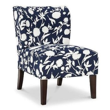 Seating - Threshold Scooped Back Chair - Navy Floral I Target - navy and white floral chair, navy floral armless chair, navy floral scoop back chair, navy scooped back chair,