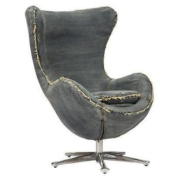 Seating - Winchester Upholstered Chair - Blue Denim I Target - denim swivel chair, mid century swivel chair, denim chair with chrome base, blue denim chair,