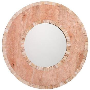 Mirrors - Mandalay Bone Mirror | HomeDecorators.com - round inlaid mirror, round bone inlay mirror, round wood and inlay mirror,
