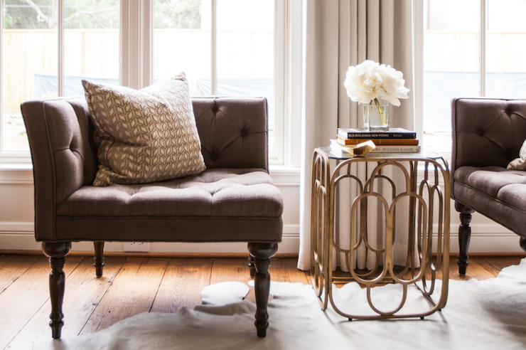 Brass accent table transitional living room marie flanigan interiors - Types of tables for living room and brief buying guide ...