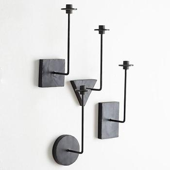 Art/Wall Decor - Geometric Sconces I Wisteria - modern iron candle sconce, geometric iron candle sconce, triangular candle wall sconce, round candle wall sconce,