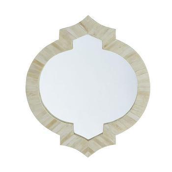 Mirrors - Constantinople Bone Mirror I Wisteria - bone inlaid mirror, moroccan shaped bone inlay mirror, moroccan inlaid mirror, bone inlay mirror,