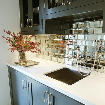 Mirrored Subway Tiles, Contemporary, kitchen, Marie Flanigan Interiors
