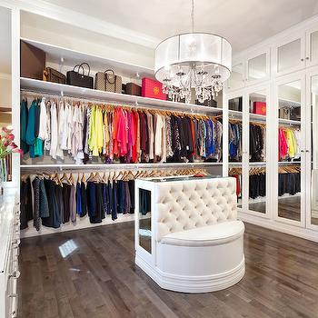 Within Studio - closets - walk in closet, walk in closet ideas, stacked clothes rails, bag shelf, purse shelf, closet chandelier, white sheer drum chandelier, white sheer chandelier, closet ottoman, closet island, tufted bench, island bench, closet island bench, mirrored closet island, tufted bench, mirrored closets, mirrored closet doors, mirrored wardrobes, built in make up vanity, folding vanity mirror,