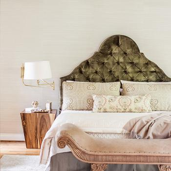Gray Velvet Tufted Headboard, Transitional, bedroom, Marie Flanigan Interiors