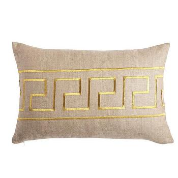 Pillows - Gold Greek Key Pillow - Kidney I Wisteria - gold greek key pillow, greek key lumbar pillow, gold embroidered greek key pillow,