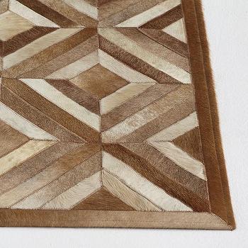 Rugs - Cowhide Rug - Checkered I Wisteria - checkered cowhide rug, modern cowhide rug, geometric cowhide rug,