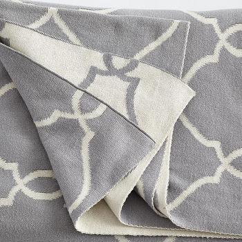 Decor/Accessories - Graphic Throw - Baluster I Wisteria - geometric gray throw, gray moroccan pattern throw, gray moroccan tile throw,