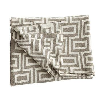 Decor/Accessories - Graphic Throw - Brownstone I Wisteria - taupe geometric throw, modern taupe throw, taupe and white throw,