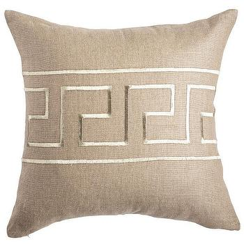 Pillows - Silver Greek Key Pillow - Square I Wisteria - greek key pillow, metallic stitch greek key pillow, square greek key pillow,