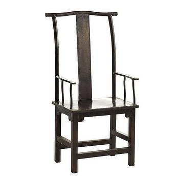 Seating - Iron Chinese Dining Chair I Wisteria - yoke back dining chair, black chinese dining chair, chinese style dining chair, iron chinese dining chair,