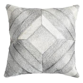 Pillows - Cowhide Pillow Cover - Diamondback I Wisteria - gray cowhide pillow, geometric cowhide pillow, modern cowhide pillow,