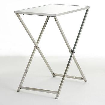 Tables - Mirrored Folding Table I Wisteria - folding silver table, folding mirrored table, mirror topped folding table,