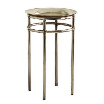 Tables - Quaint Metal Table I Wisteria - silver side table, silver metal accent table, small silver accent table,