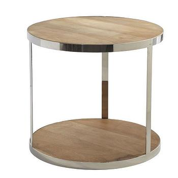 Tables - Cylinder Side Table I Wisteria - round steel framed table, stainless steel side table, stainless steel and wood table, mango wood accent table, modern stainless steel accent table,