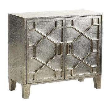 Storage Furniture - Silver Foil Buffet I Wisteria - silver foil buffet cabinet, silver buffet cabinet, silver cabinet with geometric overlay,