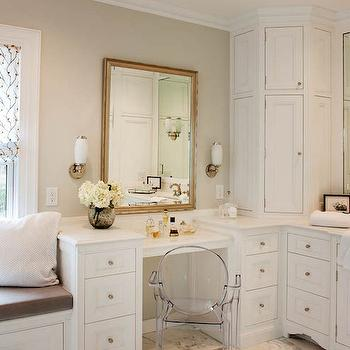 Drop Down Make Up Vanity, Transitional, bathroom, Crown Point Cabinetry