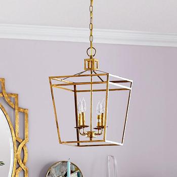 Lighting - Admiral Pendant Lantern I Wisteria - gilt pendant lantern, gold lantern pendant, gold openwork lantern, modern gilt lantern,