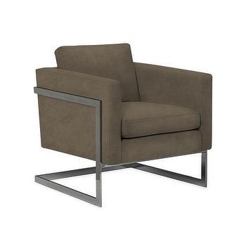 Seating - Grisham Arm Chair I Wisteria - steel framed arm chair, brown velvet arm chair, modern brown arm chair,