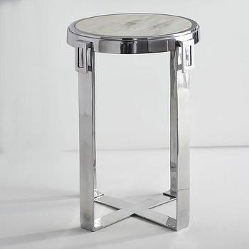 Tables - Marble Top Side Table I Wisteria - aluminum side table, round aluminum side table, aluminum and white marble side table, modern aluminum side table,