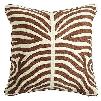 Pillows - Zebra Crewel Pillow Cover - Chocolate I Wisteria - brown zebra print pillow, zebra crewel pillow, zebra crewelwork pillow,