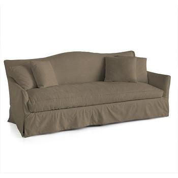 Seating - Martin Sofa I Wisteria - taupe camel back sofa, taupe velvet sofa, taupe sofa, taupe skirted sofa,