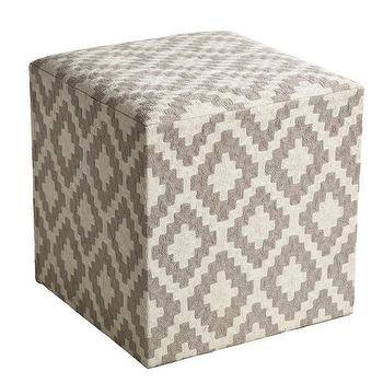 Tables - Aztec Pouf I Wisteria - aztec print pouf, gray and ivory pouf, gray geometric pouf,