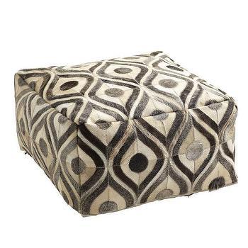 Seating - Cowhide Pouf I Wisteria - geometric cowhide pouf, modern cowhide pouf, cowhide pouf,