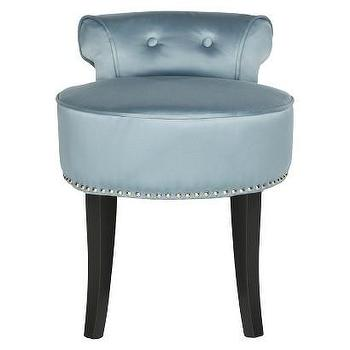 Seating - Safavieh Georgia Vanity Stool - Teal I Target - blue vanity stool, vanity stool with nailhead trim, teal blue vanity stool,