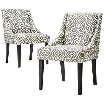 Seating - Griffin Cutback Dining Chair - Grey/Citron (Set of Two) I Target - gray and yellow dining chair, gray scroll print dining chair, scroll print side chair,