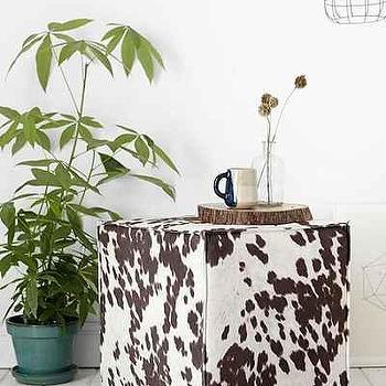 Seating - Saunder Ottoman I Urban Outfitters - cowhide print ottoman, hide print ottoman brown cowhide print ottoman, cowhide print cube ottoman,
