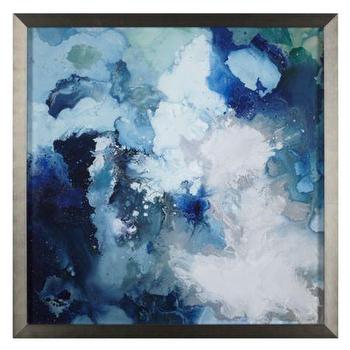 Art/Wall Decor - Blu Flo | Z Gallerie - blue abstract art, framed blue abstract, blue abstract in silver frame,