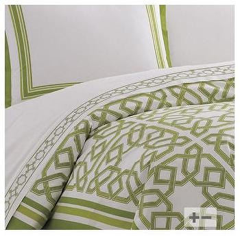 Bedding - Jonathan Adler Parish Duvet | AllModern - modern green and white duvet, jonathan adler duvet cover, green trellis print duvet cover, green geometric duvet cover,