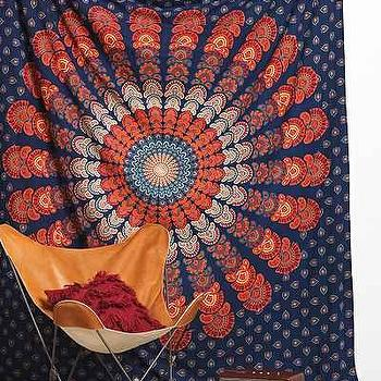 Bedding - Magical Thinking Paisley Medallion Tapestry I Urban Outfitters - paisley medallion throw, paisley medallion tapestry, navy and orange medallion tapestry,