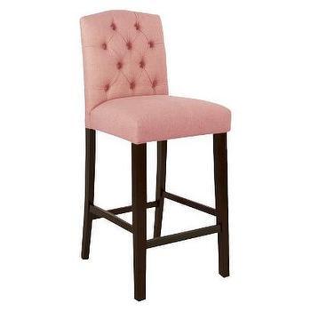 Seating - Rollback Linen Barstool I Target - pink tufted barstool, pink button tufted barstool, pink barstool, pink linen barstool,