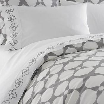 Bedding - Jonathan Adler Hollywood Printed Duvet Cover | AllModern - modern gray duvet cover, modern gray floral duvet cover, gray jonathan adler duvet cover,