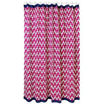 Bath - Jonathan Adler Wlliam Shower Curtain | AllModern - pink geometric print shower curtain, pink and navy shower curtain, fuchsia pink shower curtain, jonathan adler shower curtain, pink shower curtain with grosgrain trim,