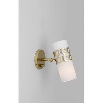 Lighting - Jonathan Adler Parker 1 Light Wall Sconce | AllModern - modern brass wall sconce, adjustable brass wall sconce, brass wall sconce with glass shade,