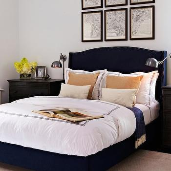 Navy Wingback Bed, Transitional, bedroom, Chango & Co.