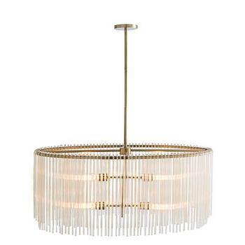 Lighting - ARTERIORS Home Royalton 4 Light Oval Drum Chandelier | AllModern - glass rod chandelier, oval glass chandelier, glass and brass chandelier,
