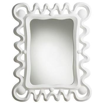 Mirrors - ARTERIORS Home Primitives Mirror | AllModern - sculptural white mirror, white plaster mirror, white wave mirror,