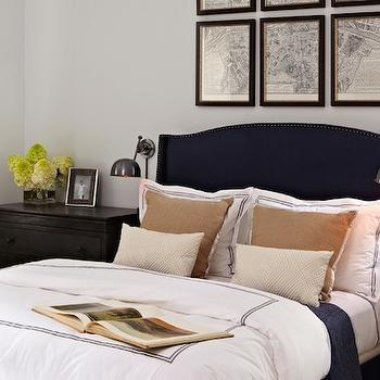 Navy Wingback Headboard, Transitional, bedroom, Chango & Co.