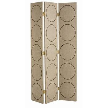 ARTERIORS Home Emory 3 Panel Room Divider I AllModern - linen room divider, linen floor screen, nailhead circle room divider, geometric nailhead trimmed room divider, linen floor screen,