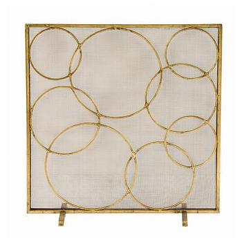 Decor/Accessories - ARTERIORS Home Glen Fireplace Screen | AllModern - interlocking circles fireplace screen, gold circles fireplace screen, modern gold fireplace screen, gold leafed fireplace screen,